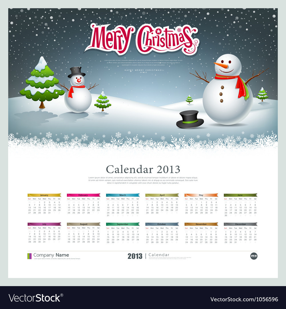 Calendar 2013 merry christmas and snowman vector | Price: 1 Credit (USD $1)