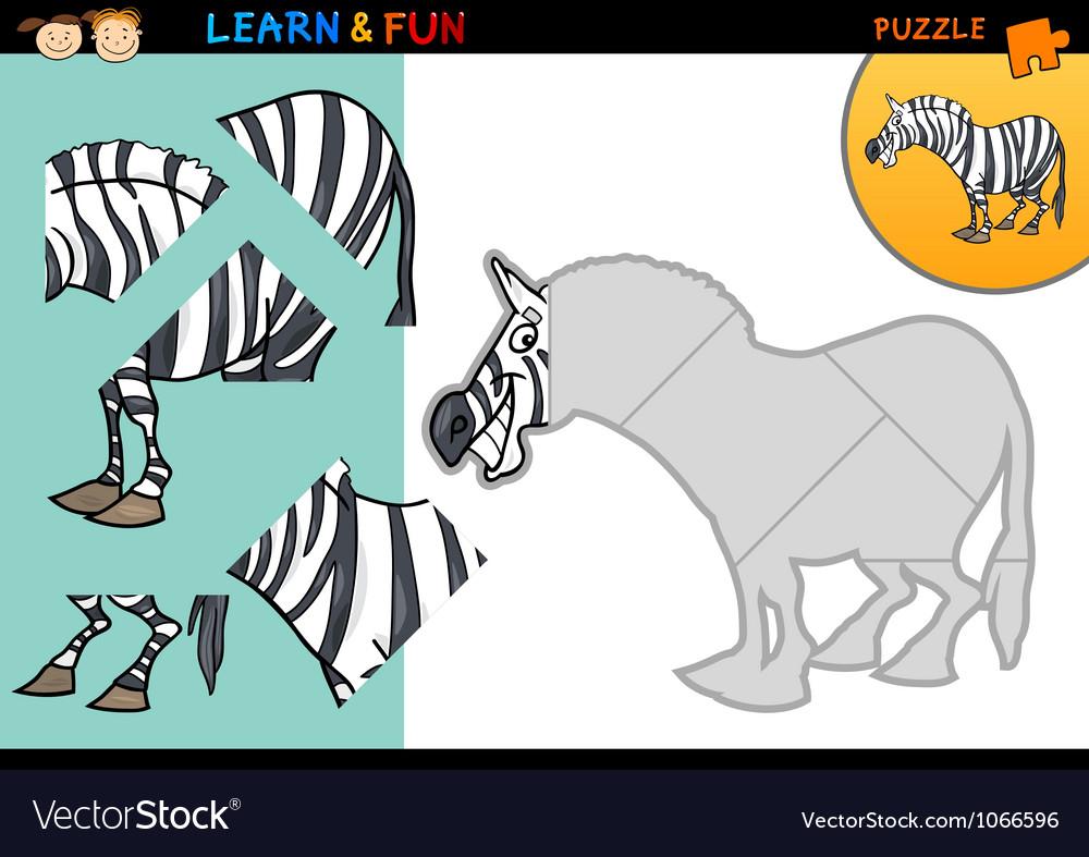 Cartoon zebra puzzle game vector | Price: 3 Credit (USD $3)