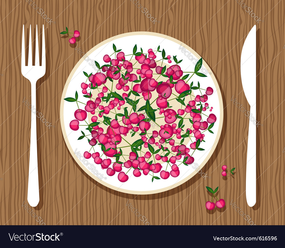 Cherries on a plate vector | Price: 1 Credit (USD $1)