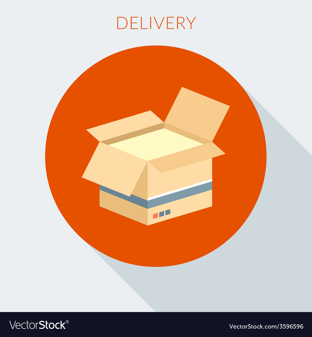 Delivery concept open cardboard box in flat vector   Price: 1 Credit (USD $1)
