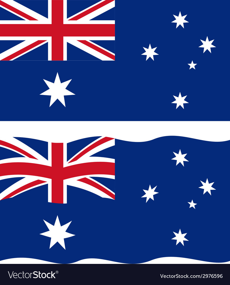 Flat and waving australian flag vector | Price: 1 Credit (USD $1)