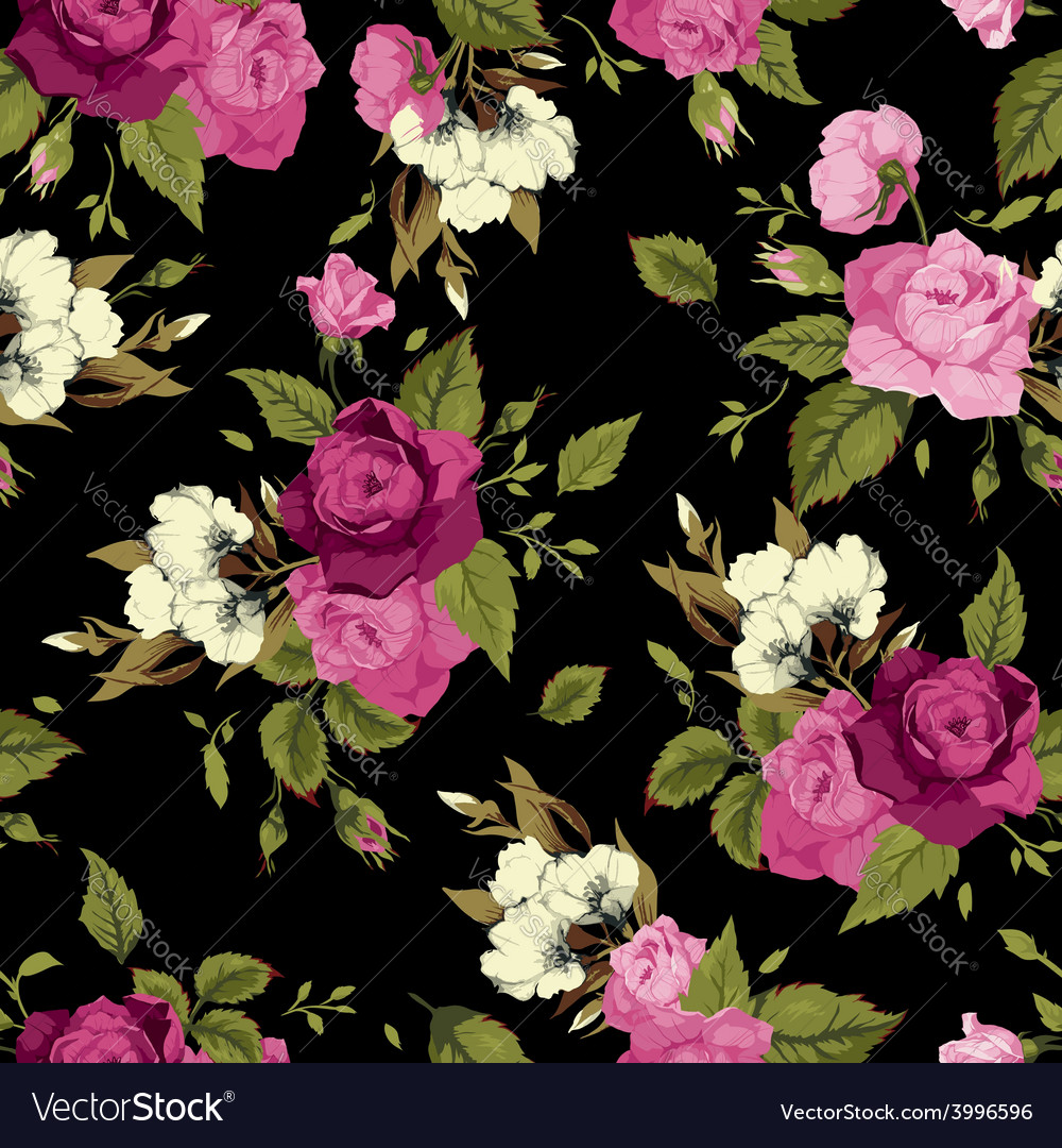 Seamless floral pattern with pink roses on black vector | Price: 1 Credit (USD $1)