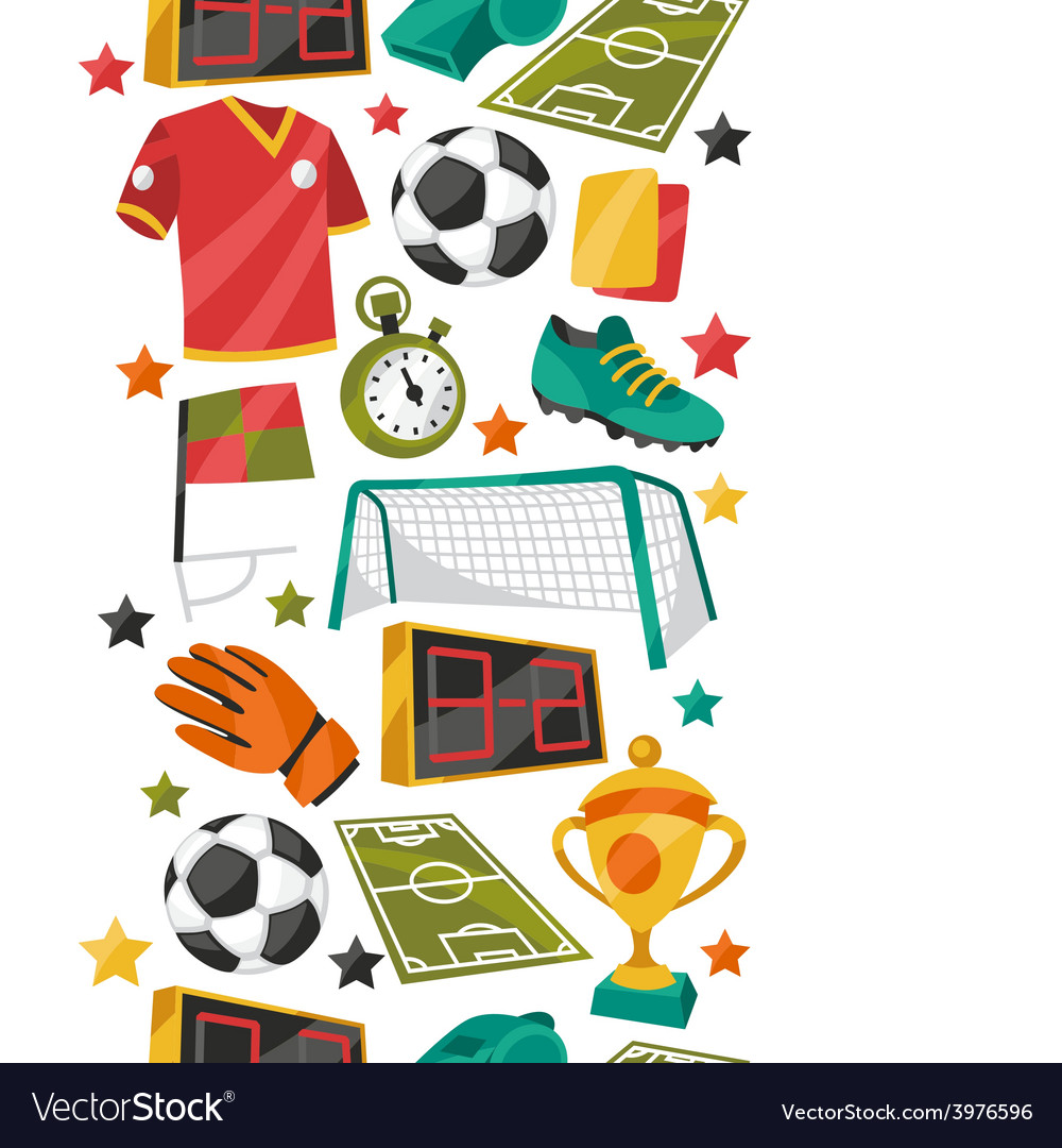 Sports seamless pattern with soccer football vector | Price: 1 Credit (USD $1)
