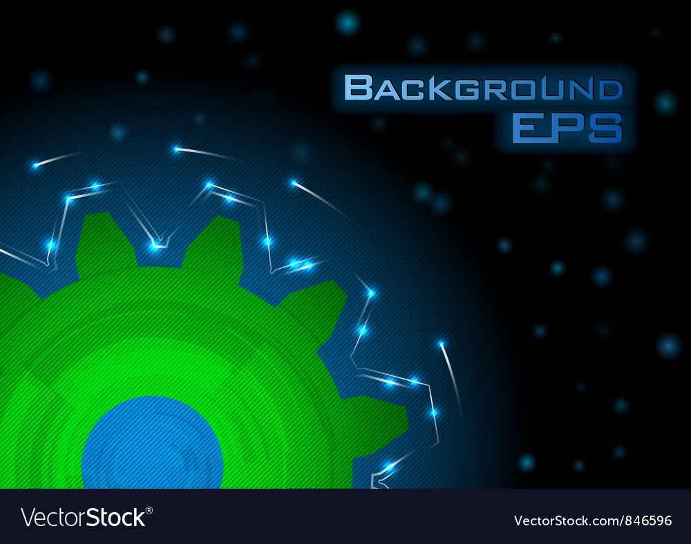Tech background blue green big wheel vector | Price: 1 Credit (USD $1)