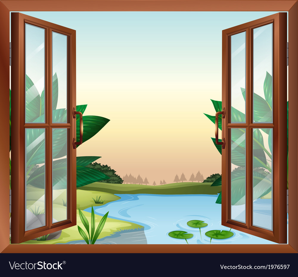 A window near the pond vector | Price: 1 Credit (USD $1)