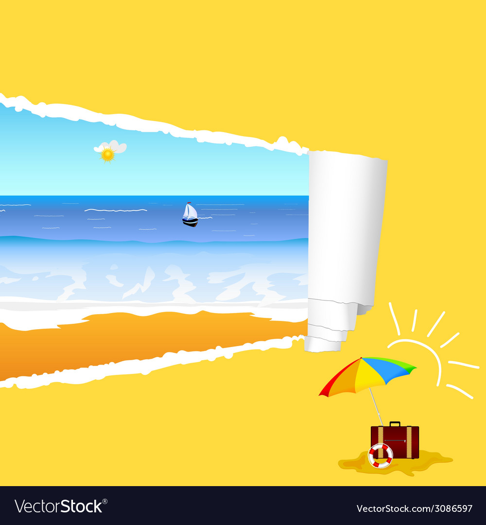 Beach with tearing paper vector | Price: 1 Credit (USD $1)
