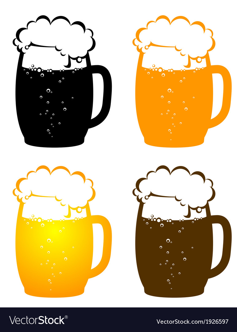 Beer mugs with bubbles vector | Price: 1 Credit (USD $1)