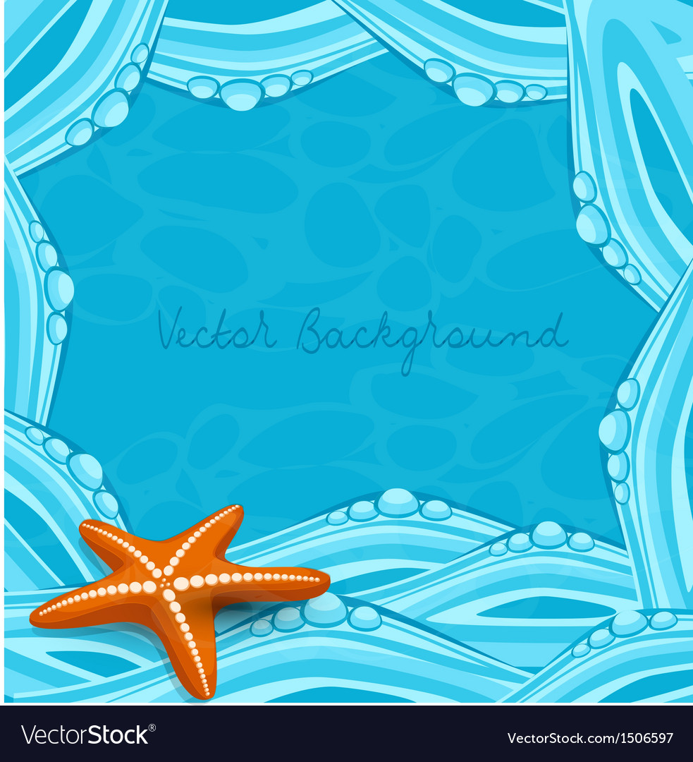 Blue background with ocean waves and starfish vector | Price: 1 Credit (USD $1)