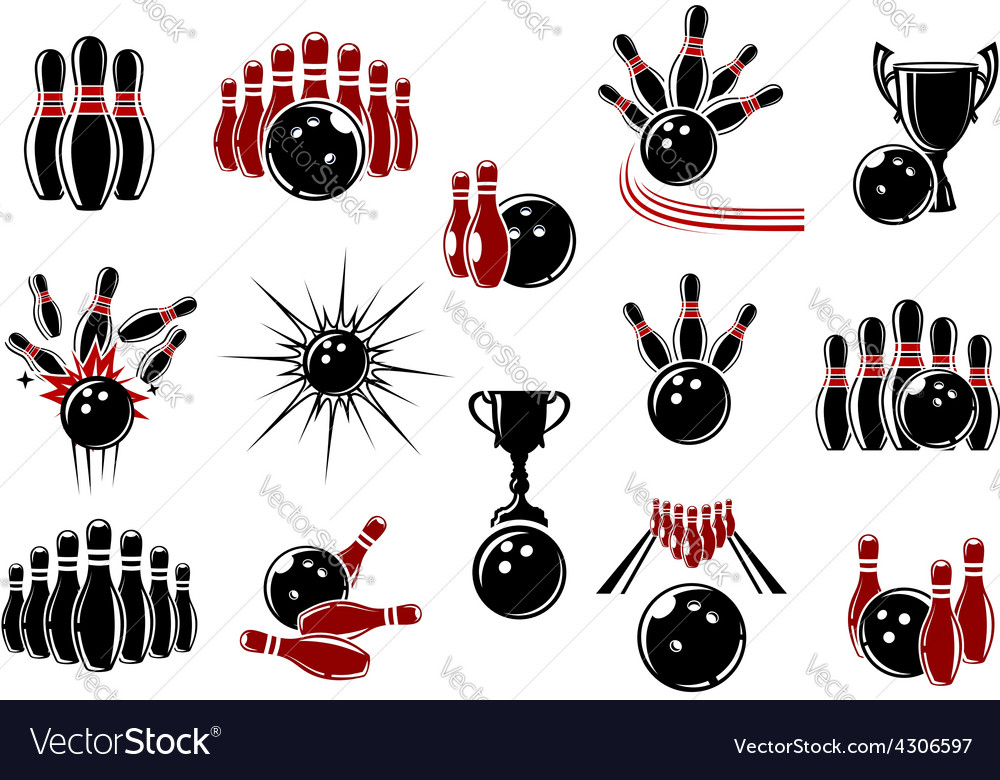 Bowling symbols with equipment and comics elements vector | Price: 1 Credit (USD $1)
