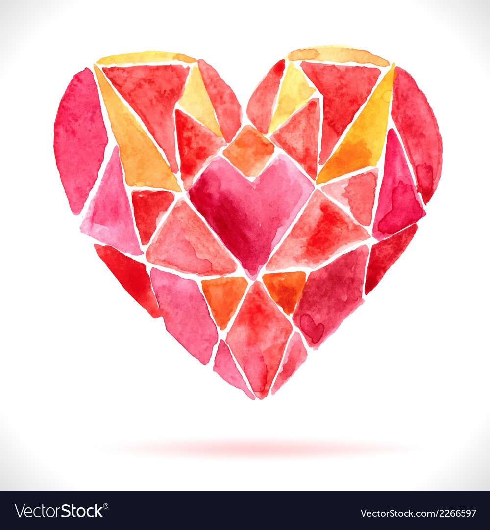 Bright color mosaic watercolor heart vector | Price: 1 Credit (USD $1)