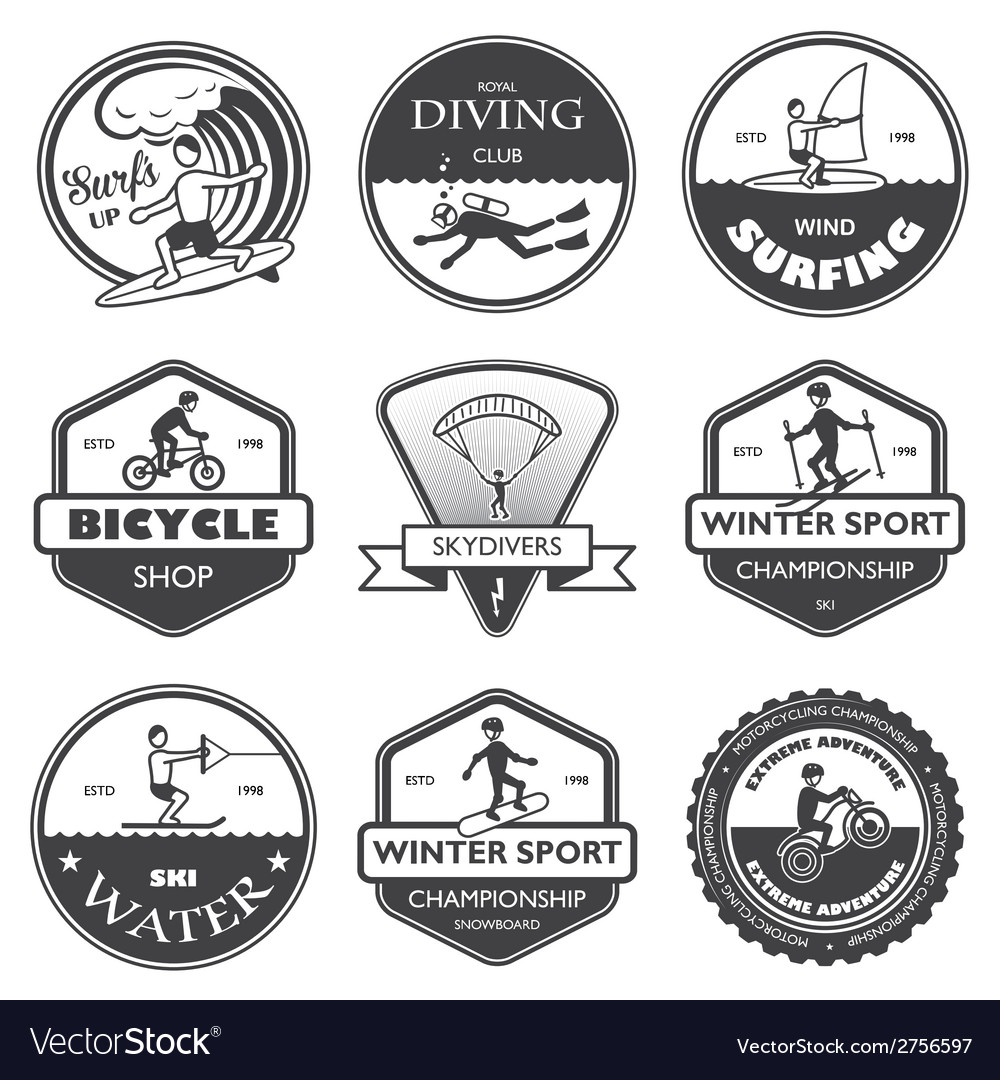 Extreme sports labels set vector | Price: 1 Credit (USD $1)