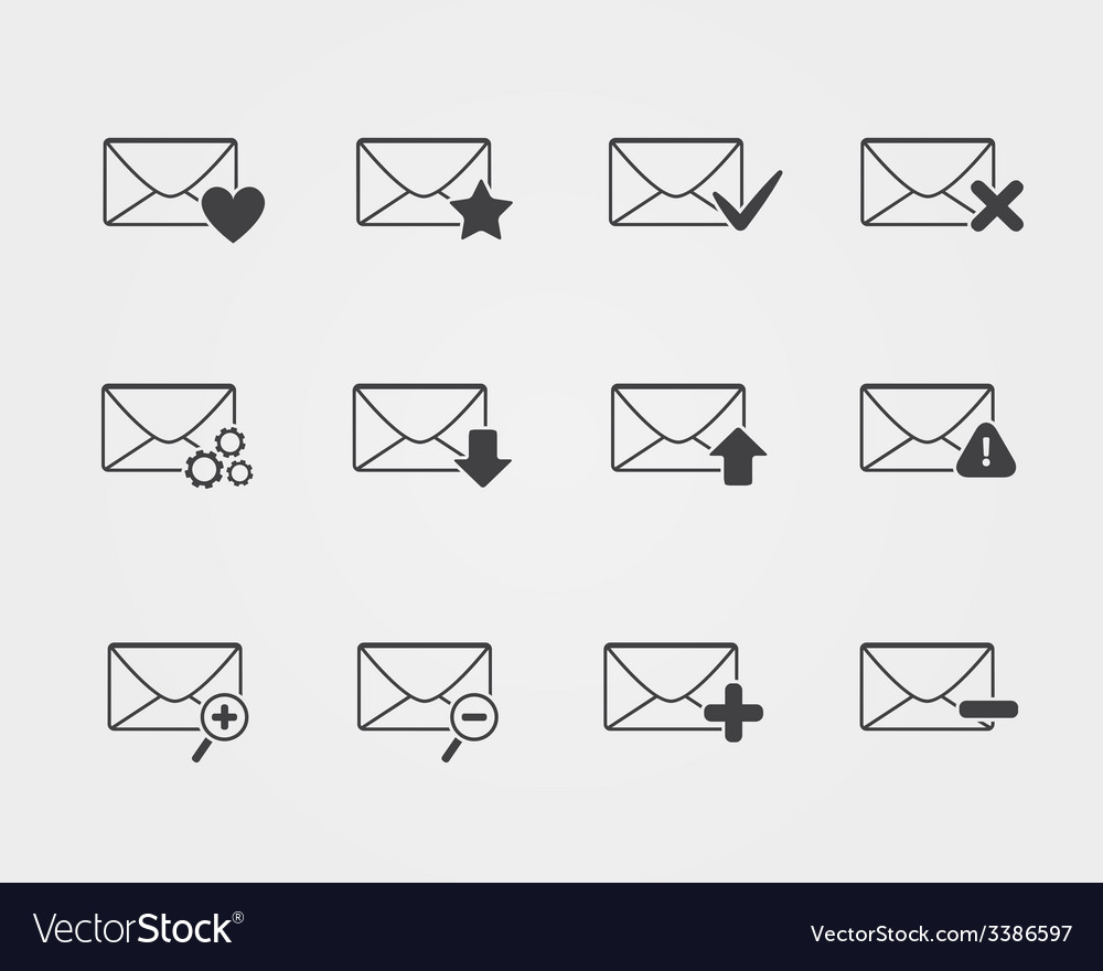 Line black email icons set vector | Price: 1 Credit (USD $1)