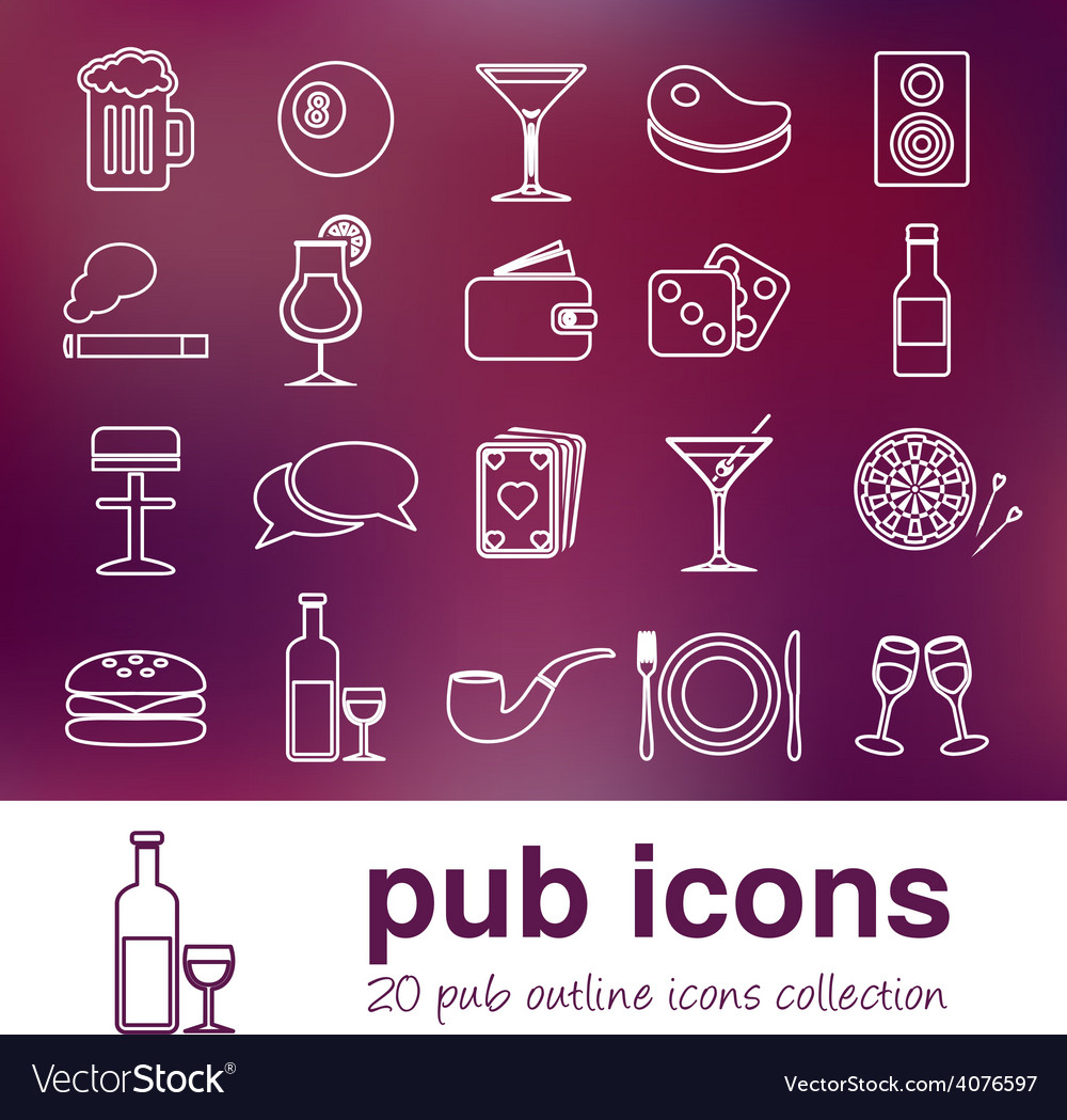 Pub outline icons vector | Price: 1 Credit (USD $1)