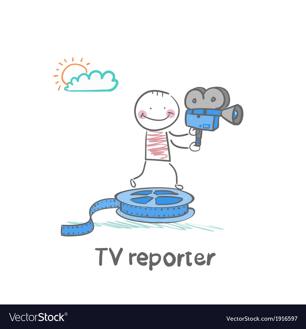 Tv reporter stands on the film and keeps the vector | Price: 1 Credit (USD $1)