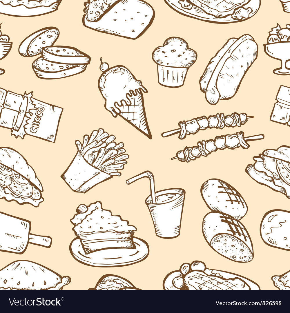 Food seamless pattern vector   Price: 1 Credit (USD $1)