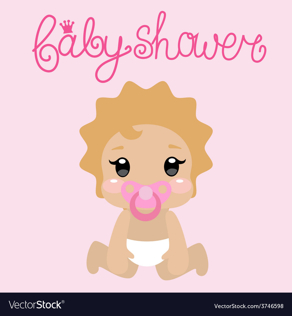 Its a girl babyshower card vector