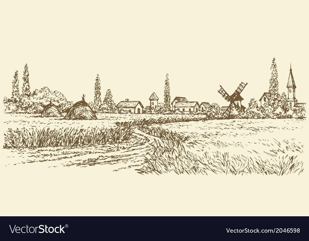 Path through fields of wheat to the old windmill vector | Price: 1 Credit (USD $1)