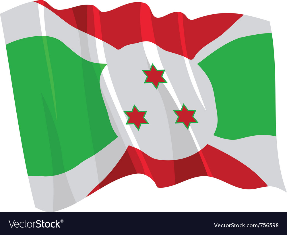 Political waving flag of burundi vector | Price: 1 Credit (USD $1)