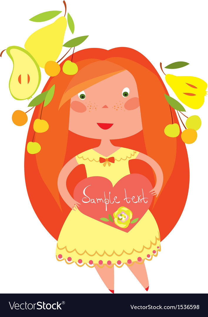 Red haired girl vector | Price: 1 Credit (USD $1)