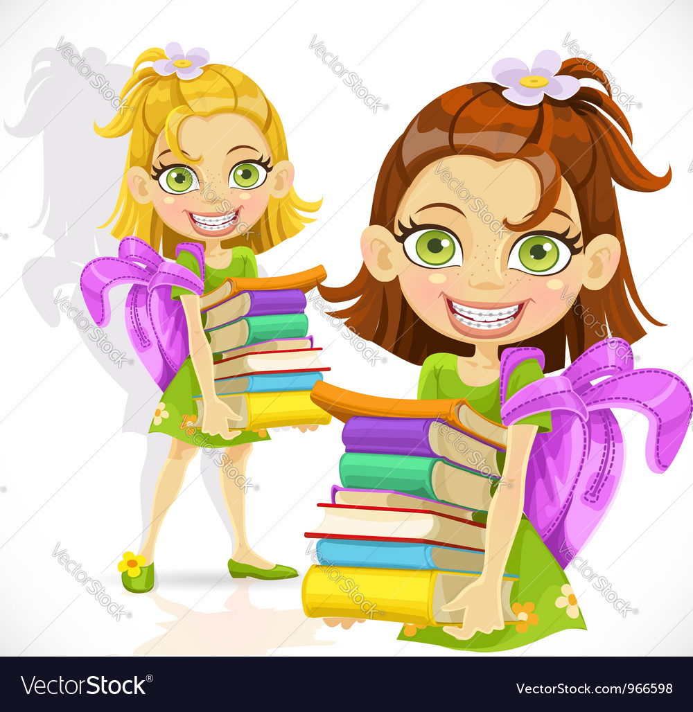 Schoolgirl with a stack of books vector   Price: 5 Credit (USD $5)
