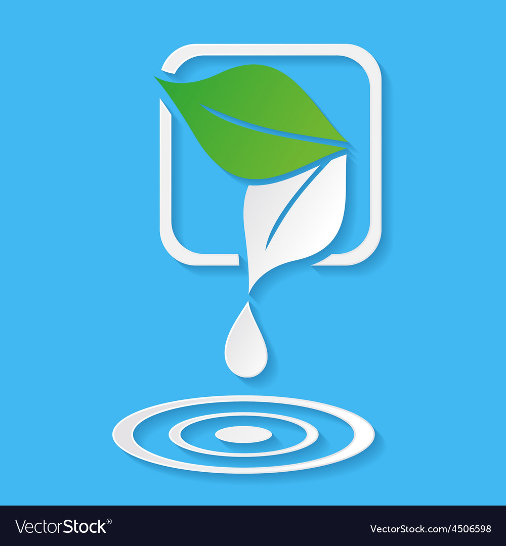 Water drop and leaves vector | Price: 1 Credit (USD $1)