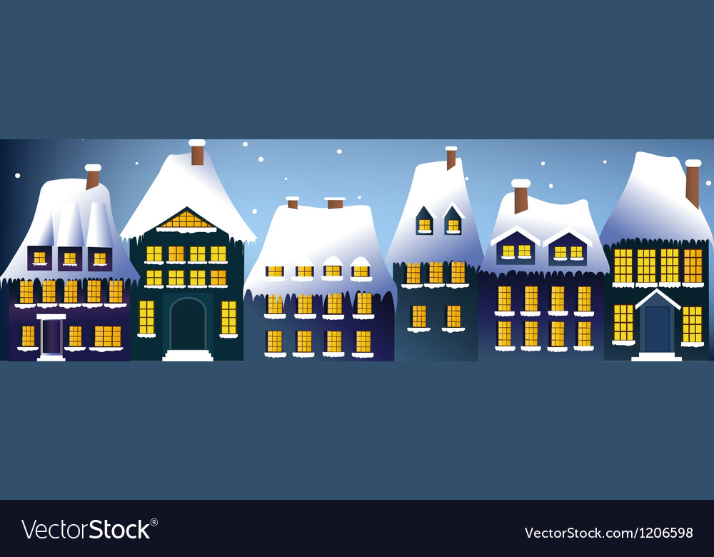 Winter town vector | Price: 1 Credit (USD $1)