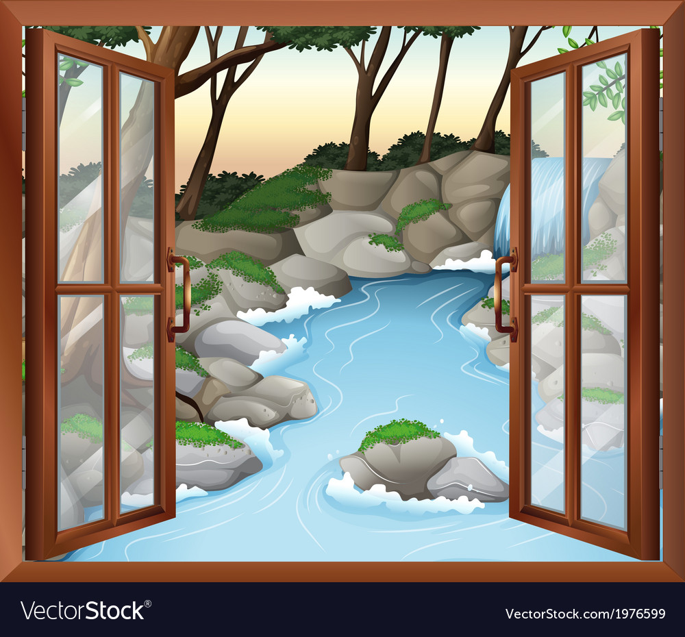 A window near the waterfalls vector | Price: 1 Credit (USD $1)