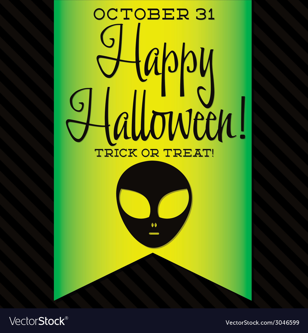 Alien halloween sash card in format vector | Price: 1 Credit (USD $1)