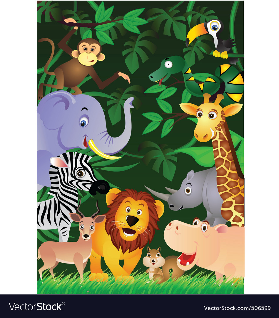 Animal cartoon in the jungle vector | Price: 3 Credit (USD $3)