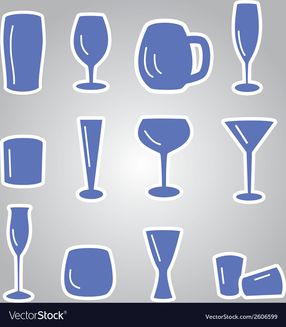 Blue glasses icons set eps10 vector | Price: 1 Credit (USD $1)