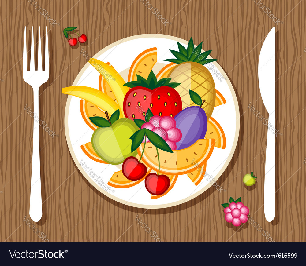 Fruit on a plate vector | Price: 1 Credit (USD $1)