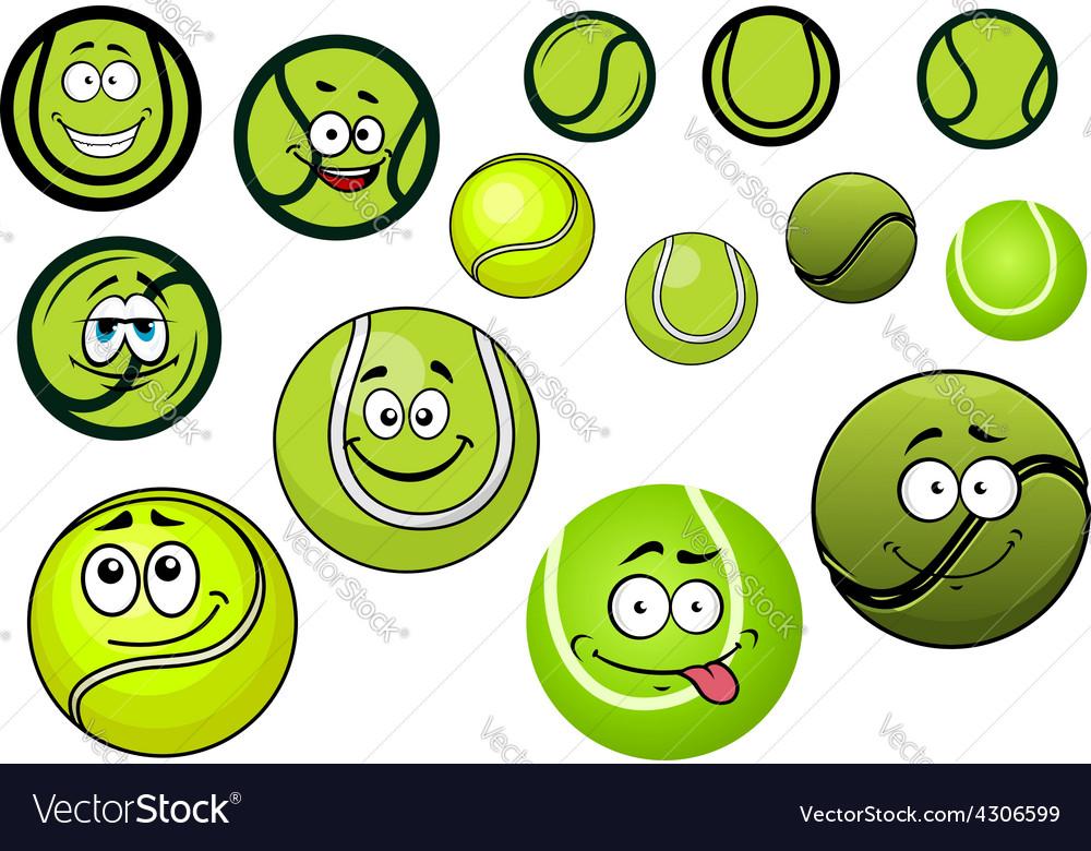 Green tennis balls mascots cartoon characters vector | Price: 1 Credit (USD $1)