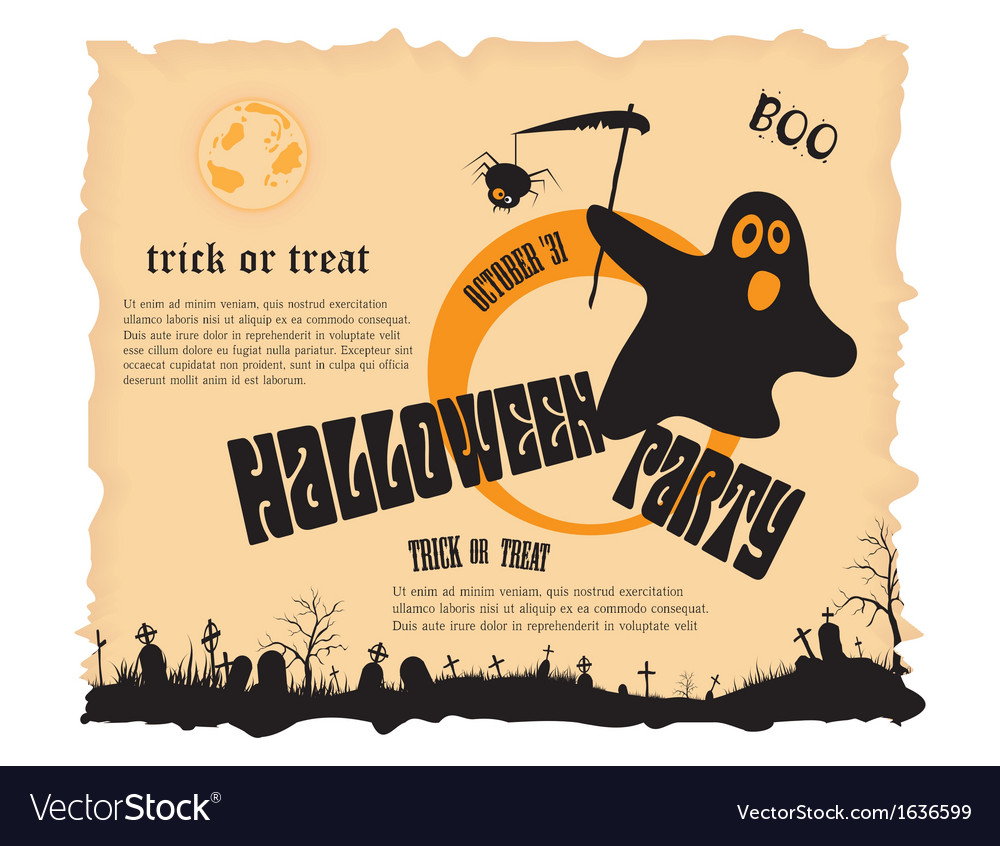 Halloween party poster with message vector | Price: 1 Credit (USD $1)