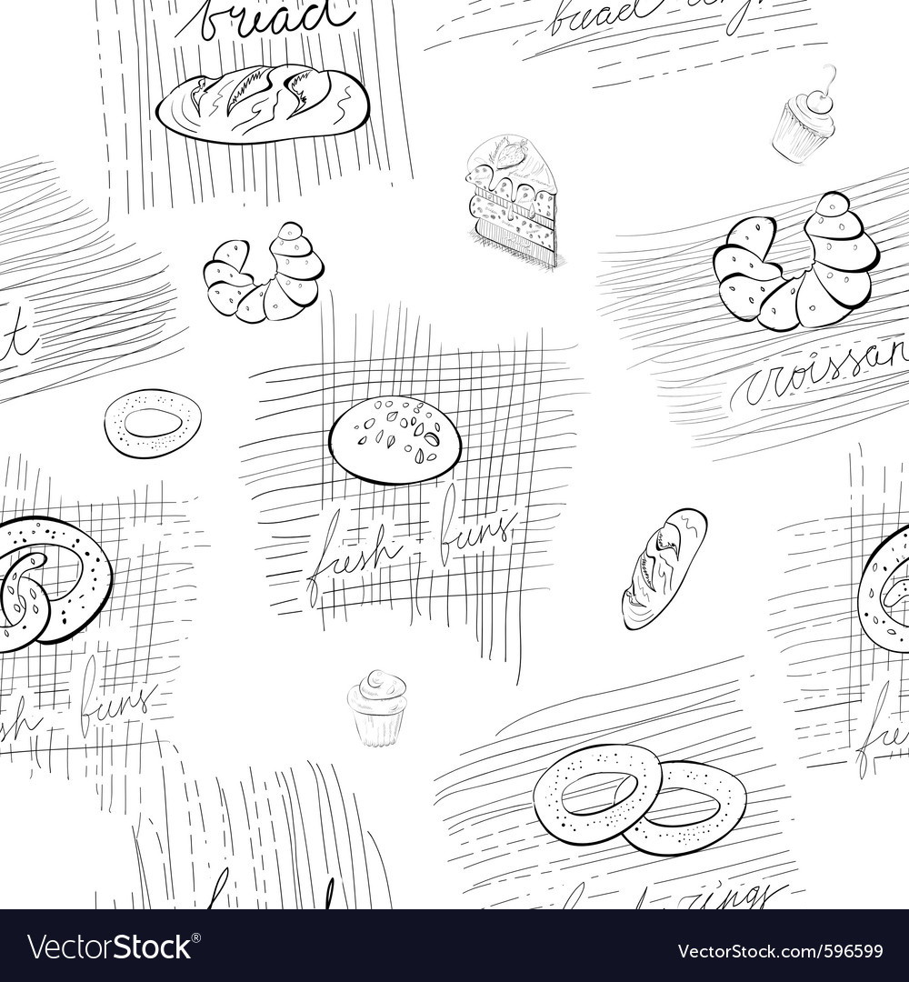 Seamless pattern with bread and buns vector | Price: 1 Credit (USD $1)