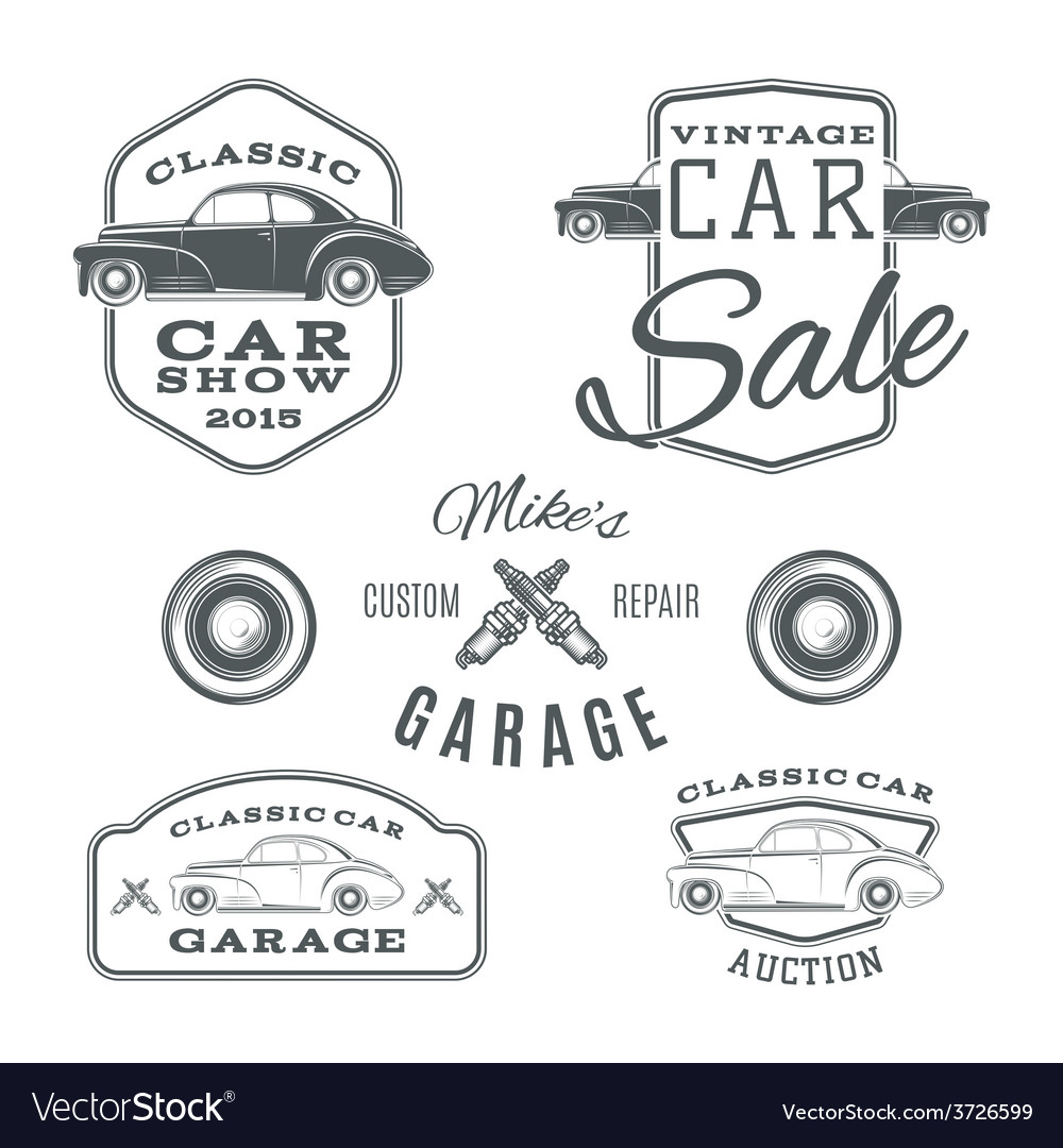 Set of vintage classic car services labels vector | Price: 1 Credit (USD $1)