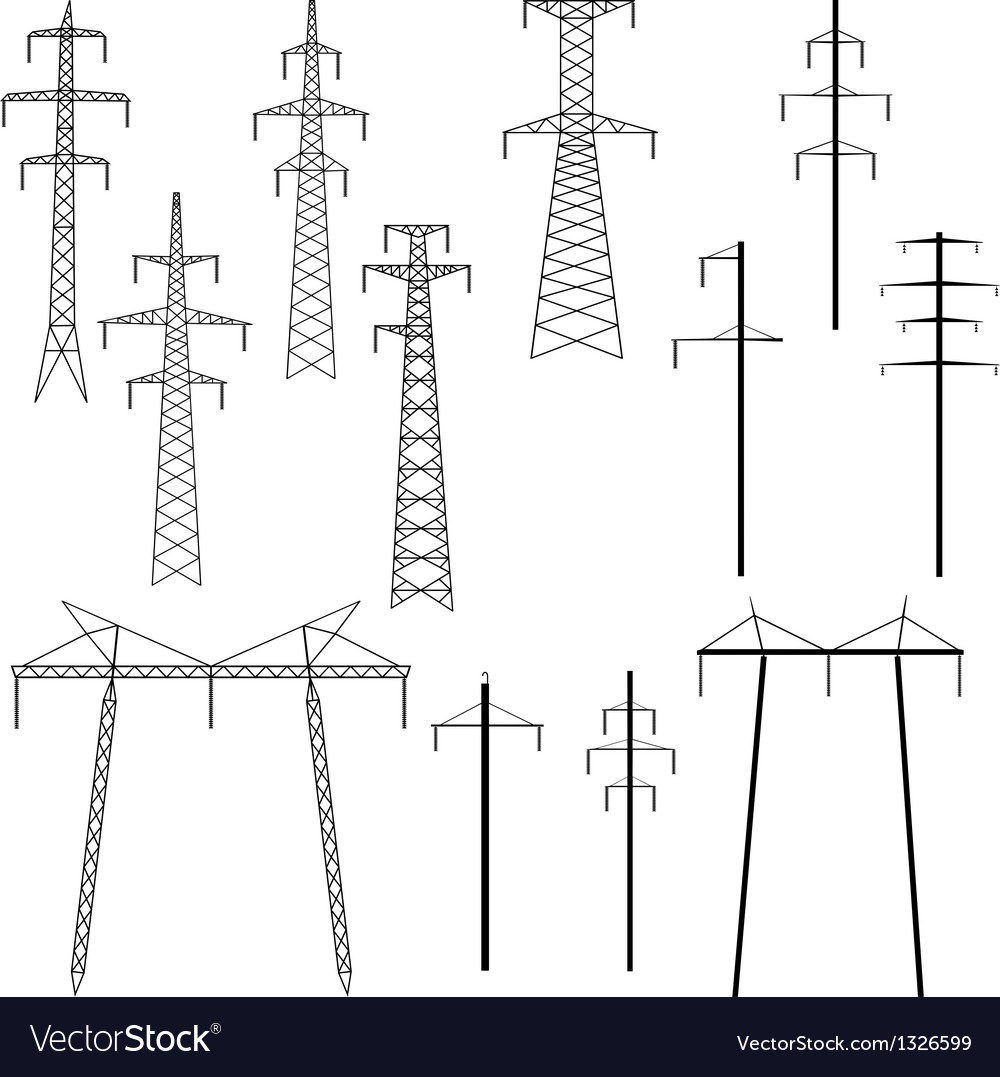 Silhouettes of pylons transmission line vector | Price: 1 Credit (USD $1)