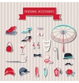 Retro personal accessories stickers of 1920s style vector
