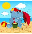 Hippo on beach vector