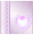 Background with a satin bow and a heart vector