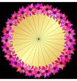 Gold round floral frame vector
