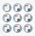 Pdf documents icons set vector