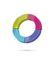 Colored icon with round graphic vector