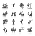 Leadership icons black vector
