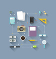 Flat design objects on work desk cup smart phone vector