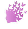 Icon with beauty woman profile with butterflies on vector