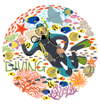 Diver with underwater plants and tropical fishes vector