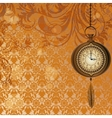 Abstract wallpaper with bronze pocket watch vector