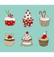 Christmas cupcakes vector