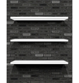 White shelves on brick wall vector