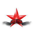 Red star with rock star banner vector
